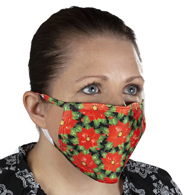 Celeste Stein Ear Loop Mask-Poinsettias