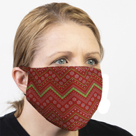 Celeste Stein Ear Loop Mask-Chevron Red Christmas Paper