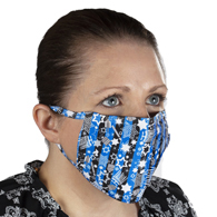 Celeste Stein Ear Loop Mask-Blue Black Stripe Hanukkah