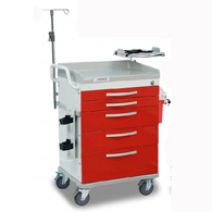 Detecto Loaded Whisper ER Medical Carts-Red